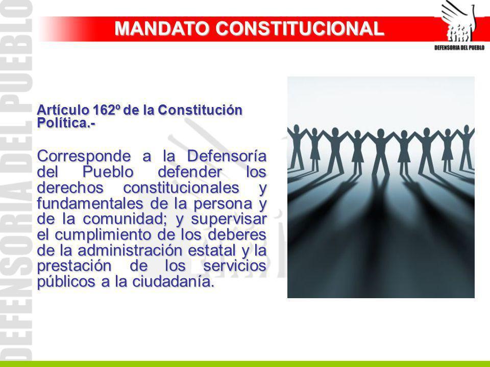 Artículo 162º de la Constitución Política.- Corresponde a la Defensoría del Pueblo defender los derechos constitucionales y fundamentales de la person