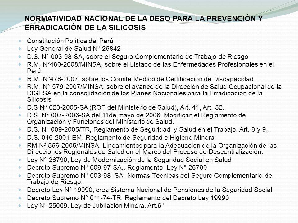 NORMATIVIDAD NACIONAL DE LA DESO PARA LA PREVENCIÓN Y ERRADICACIÓN DE LA SILICOSIS Constitución Política del Perú Ley General de Salud N° 26842 D.S. N