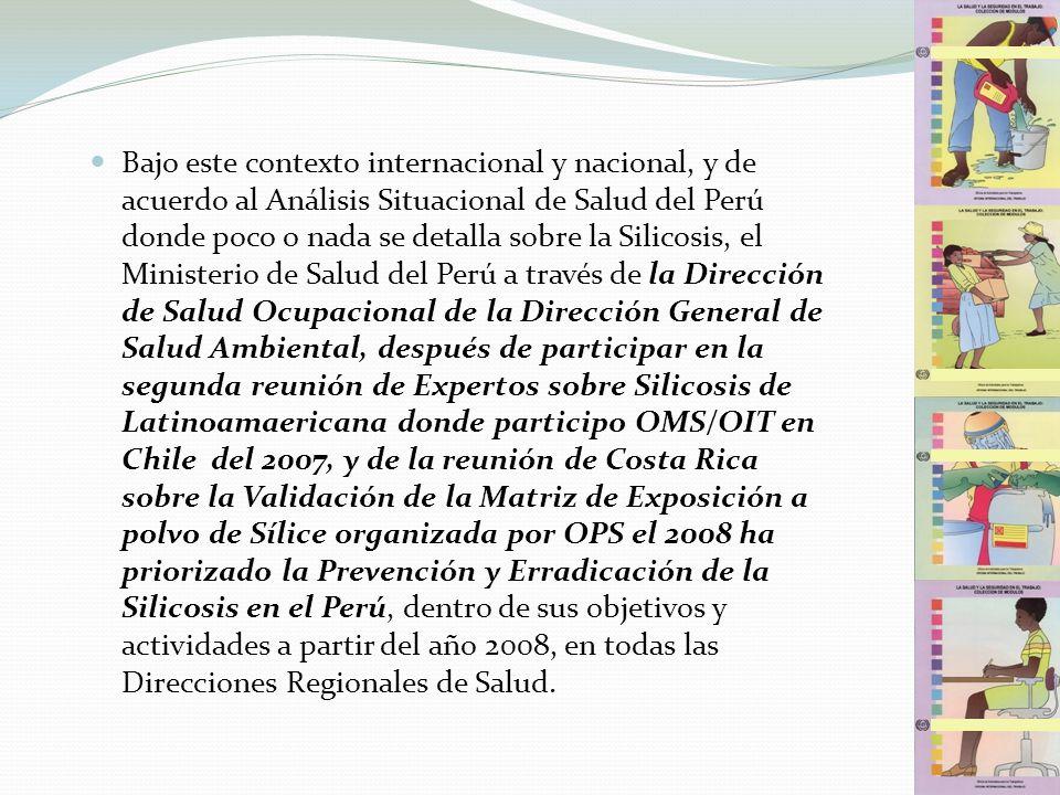 Bajo este contexto internacional y nacional, y de acuerdo al Análisis Situacional de Salud del Perú donde poco o nada se detalla sobre la Silicosis, e