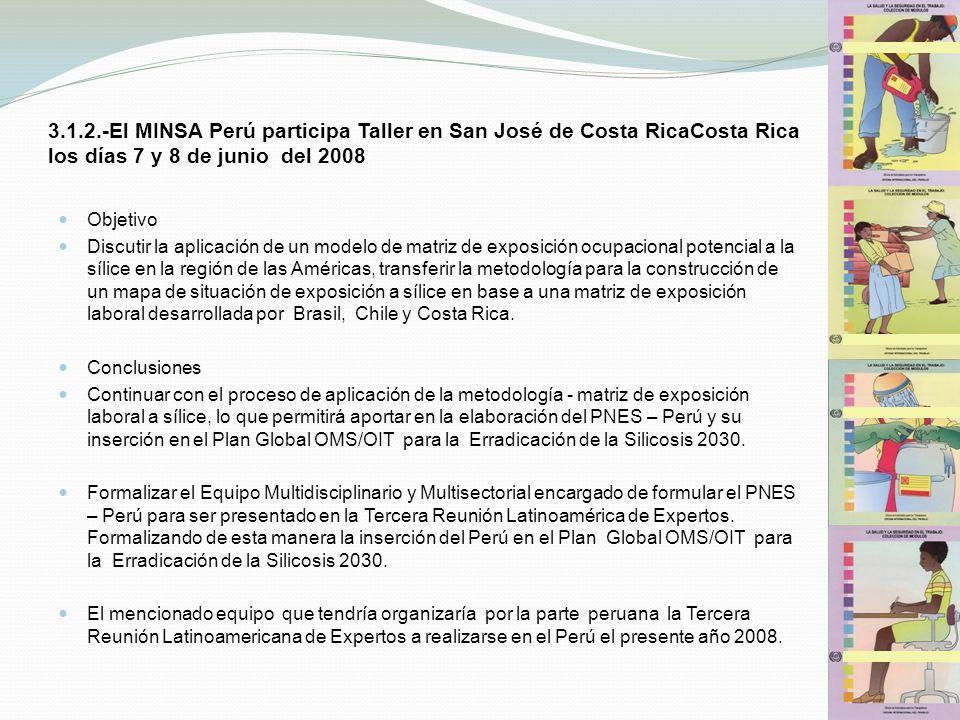 3.1.2.-El MINSA Perú participa Taller en San José de Costa RicaCosta Rica los días 7 y 8 de junio del 2008 Objetivo Discutir la aplicación de un model
