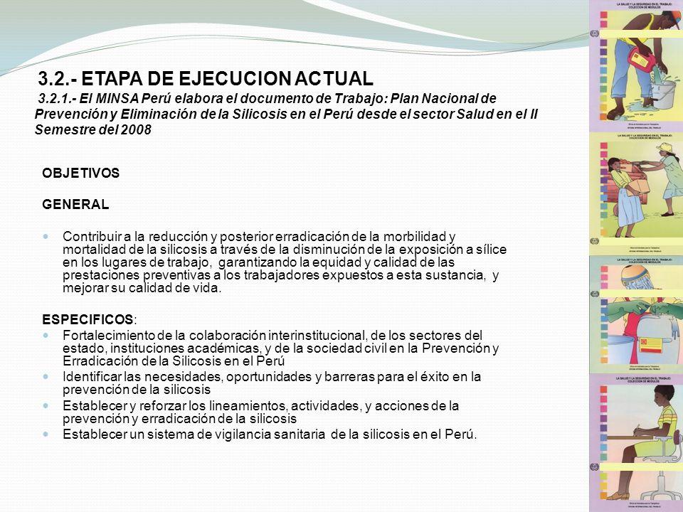3.2.- ETAPA DE EJECUCION ACTUAL 3.2.1.- El MINSA Perú elabora el documento de Trabajo: Plan Nacional de Prevención y Eliminación de la Silicosis en el
