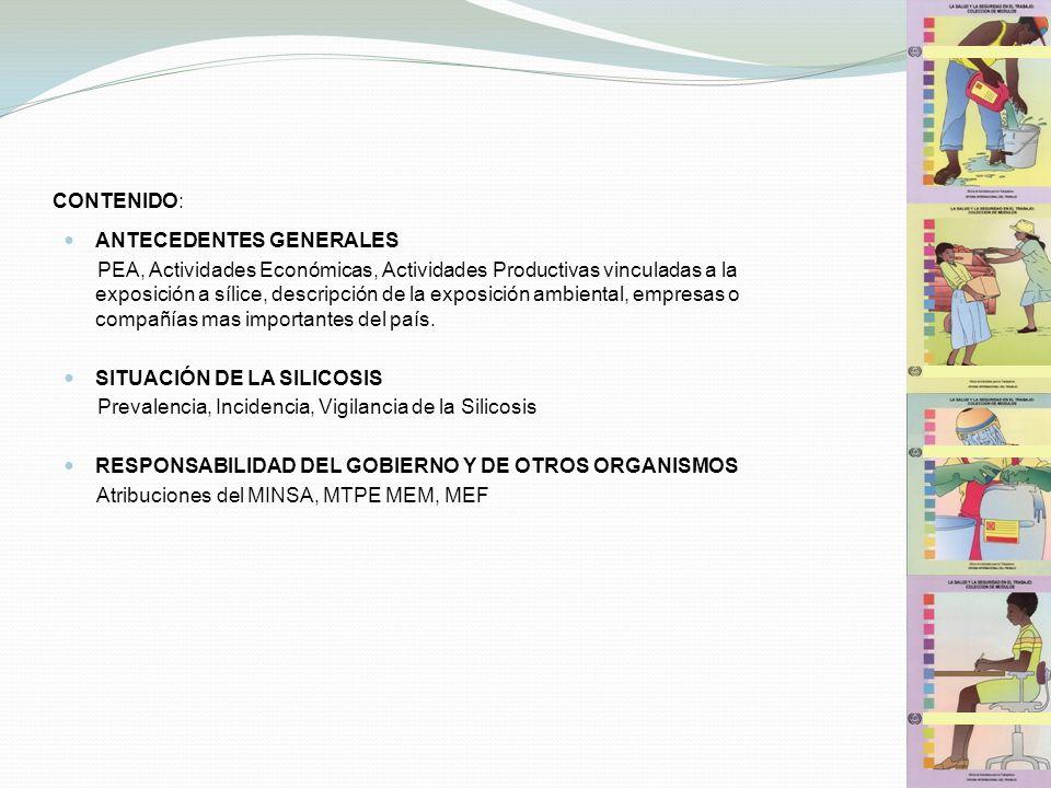 CONTENIDO: ANTECEDENTES GENERALES PEA, Actividades Económicas, Actividades Productivas vinculadas a la exposición a sílice, descripción de la exposici