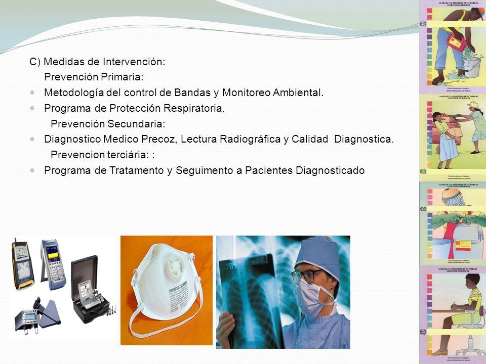 C) Medidas de Intervención: Prevención Primaria: Metodología del control de Bandas y Monitoreo Ambiental. Programa de Protección Respiratoria. Prevenc