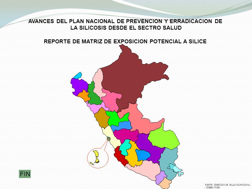 AVANCES DEL PLAN NACIONAL DE PREVENCION Y ERRADICACION DE LA SILICOSIS DESDE EL SECTRO SALUD REPORTE DE MATRIZ DE EXPOSICION POTENCIAL A SILICE FUENTE
