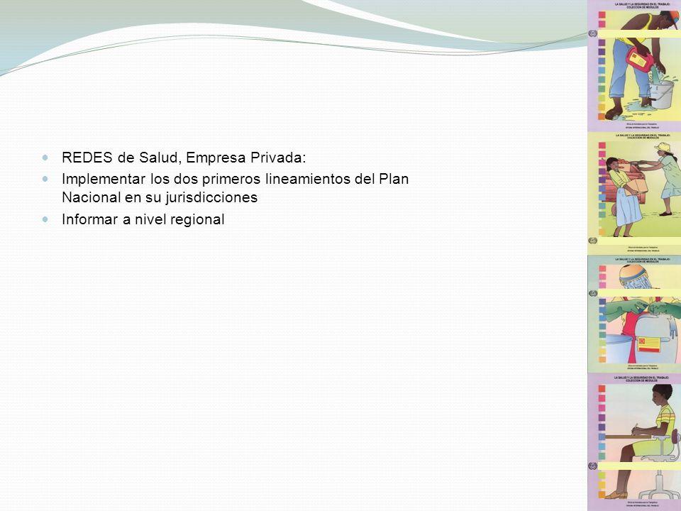 REDES de Salud, Empresa Privada: Implementar los dos primeros lineamientos del Plan Nacional en su jurisdicciones Informar a nivel regional