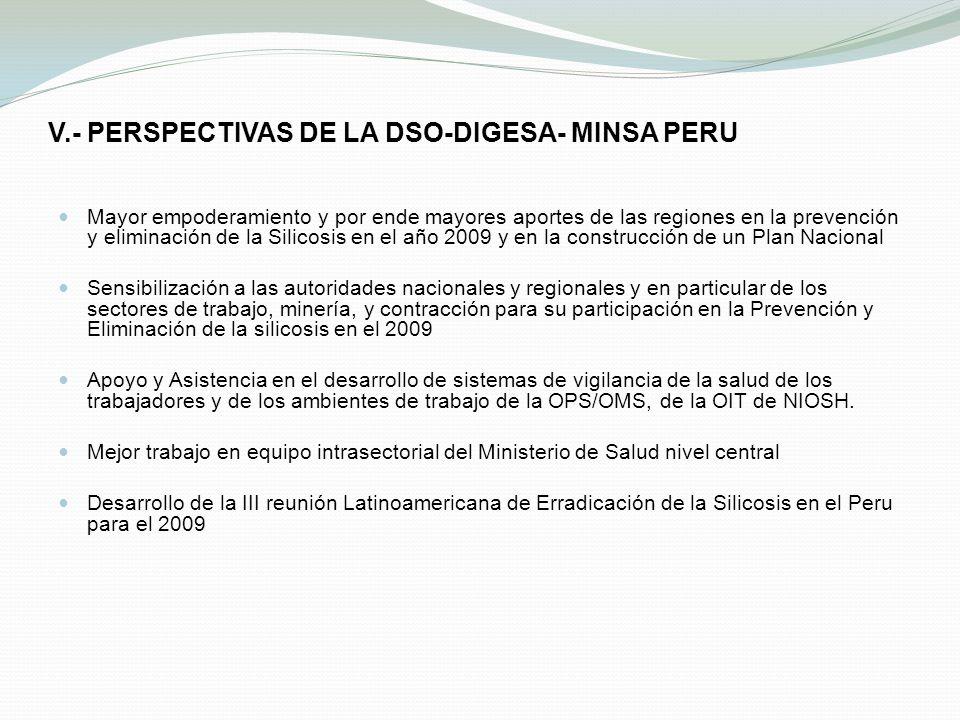 V.- PERSPECTIVAS DE LA DSO-DIGESA- MINSA PERU Mayor empoderamiento y por ende mayores aportes de las regiones en la prevención y eliminación de la Sil