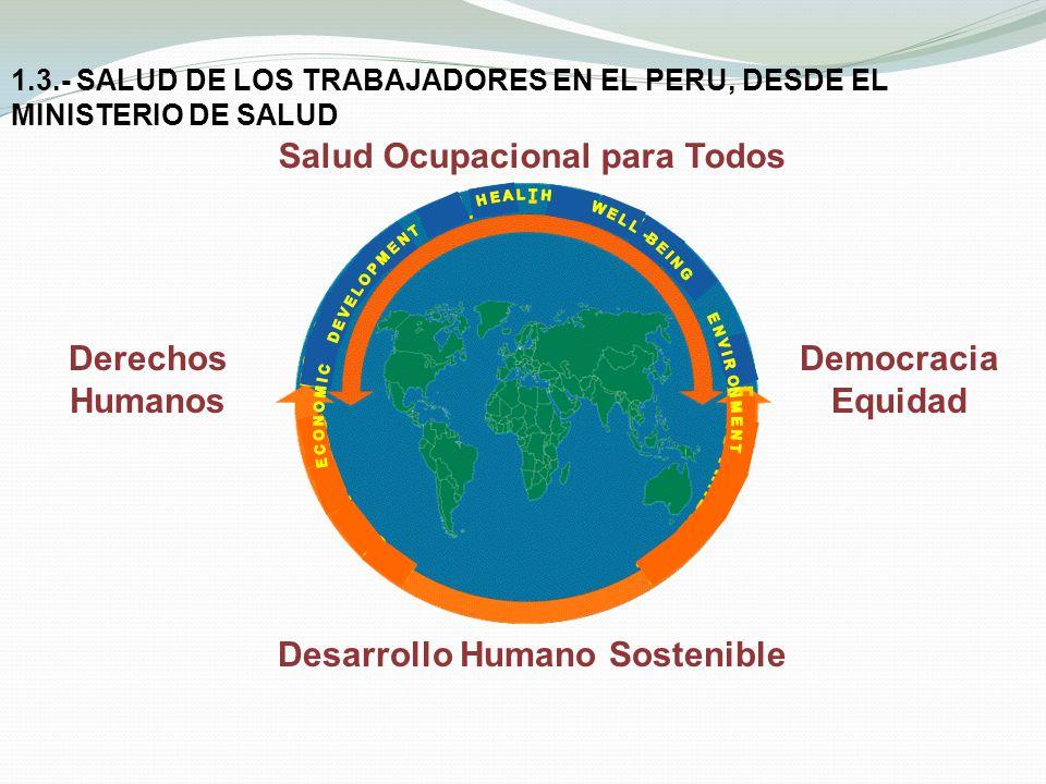 1.3.- SALUD DE LOS TRABAJADORES EN EL PERU, DESDE EL MINISTERIO DE SALUD Desarrollo Humano Sostenible Derechos Humanos Democracia Equidad Salud Ocupac