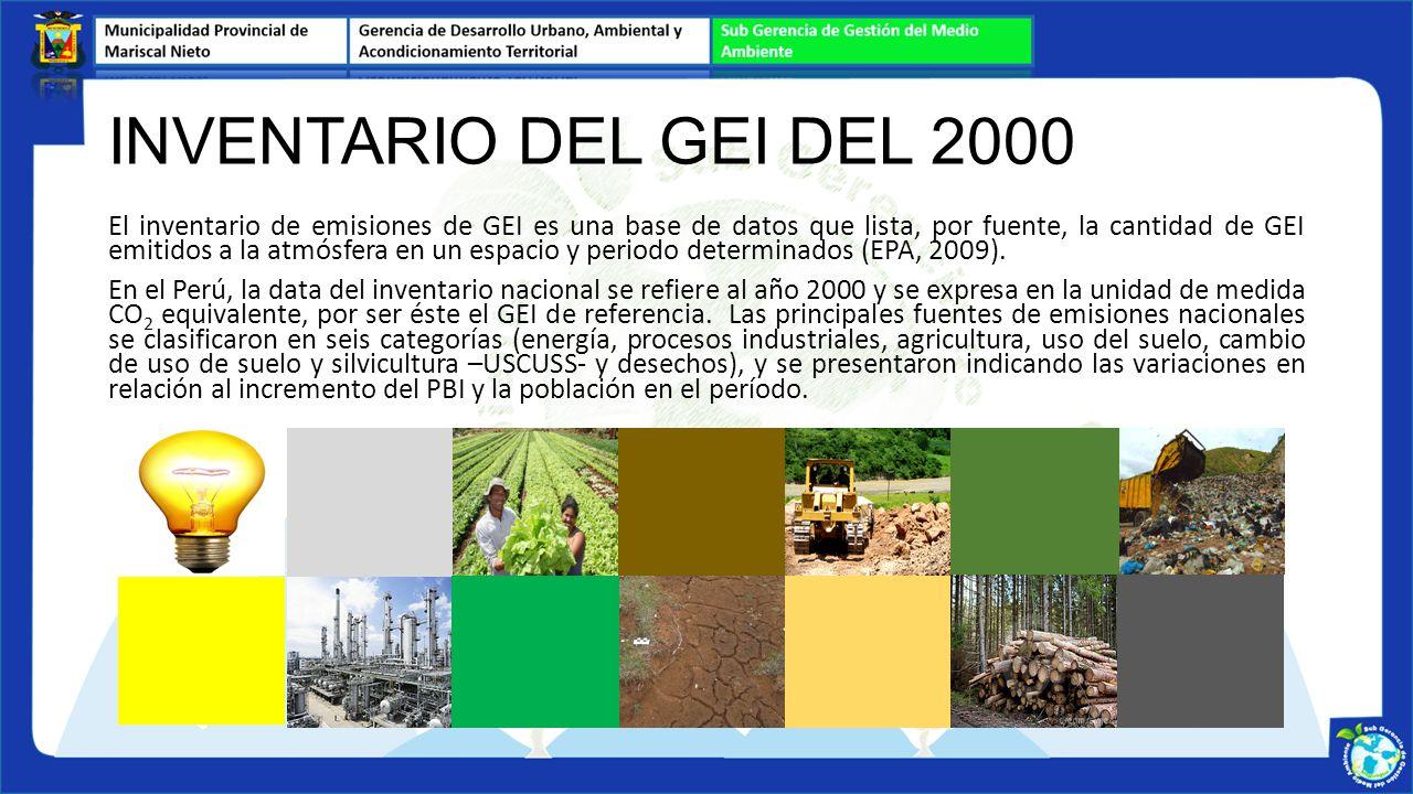 INVENTARIO DEL GEI DEL 2000 El inventario de emisiones de GEI es una base de datos que lista, por fuente, la cantidad de GEI emitidos a la atmósfera e