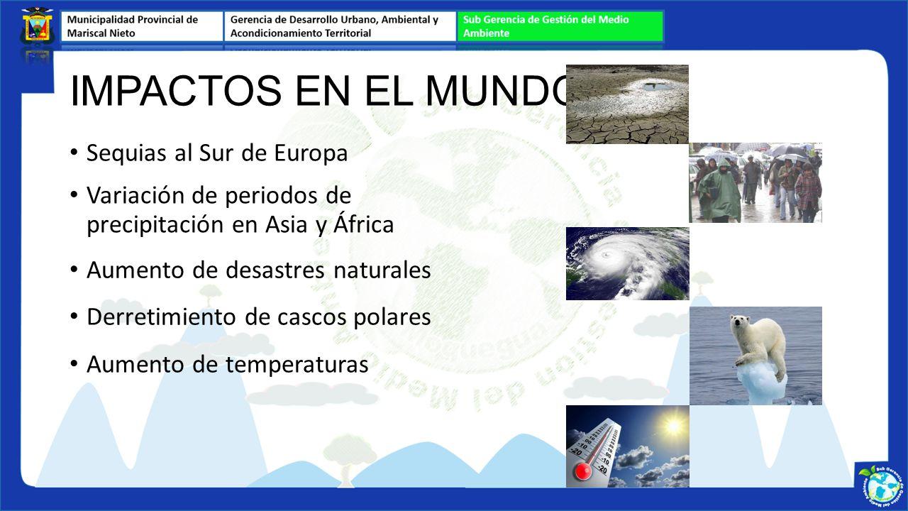 Sequias al Sur de Europa IMPACTOS EN EL MUNDO Variación de periodos de precipitación en Asia y África Aumento de desastres naturales Derretimiento de