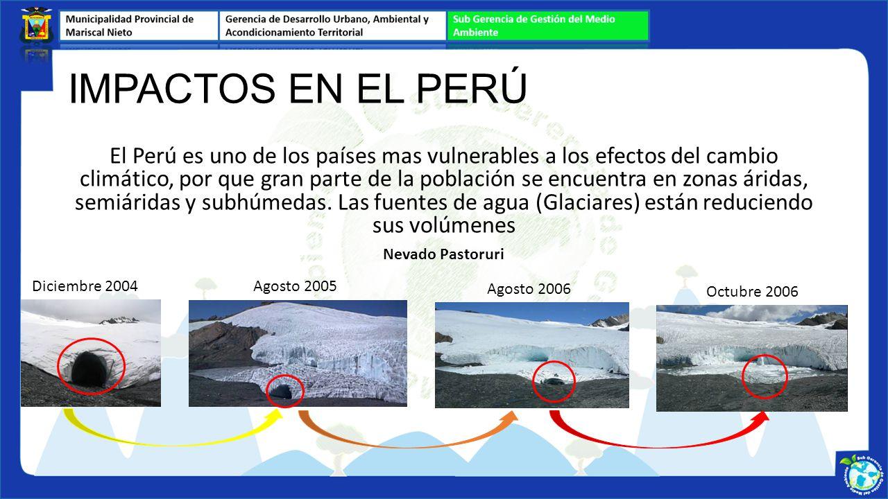 El Perú es uno de los países mas vulnerables a los efectos del cambio climático, por que gran parte de la población se encuentra en zonas áridas, semi
