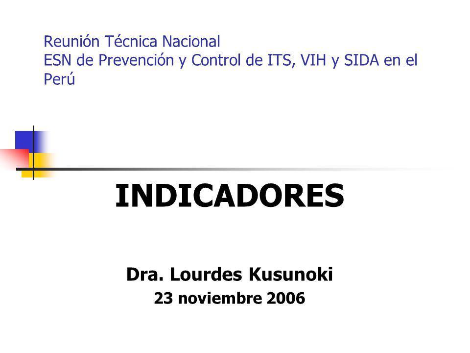 Reunión Técnica Nacional ESN de Prevención y Control de ITS, VIH y SIDA en el Perú INDICADORES Dra. Lourdes Kusunoki 23 noviembre 2006