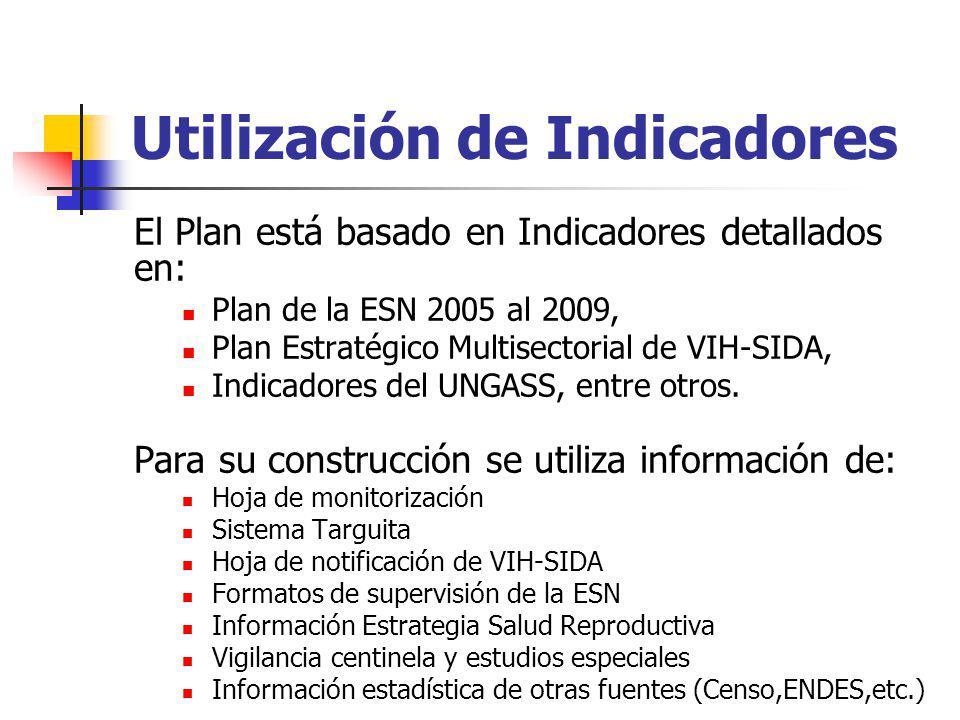 Utilización de Indicadores El Plan está basado en Indicadores detallados en: Plan de la ESN 2005 al 2009, Plan Estratégico Multisectorial de VIH-SIDA,