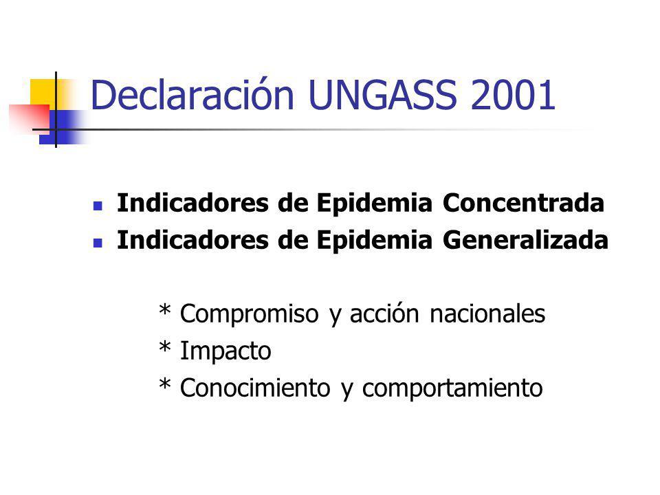 Declaración UNGASS 2001 Indicadores de Epidemia Concentrada Indicadores de Epidemia Generalizada * Compromiso y acción nacionales * Impacto * Conocimi