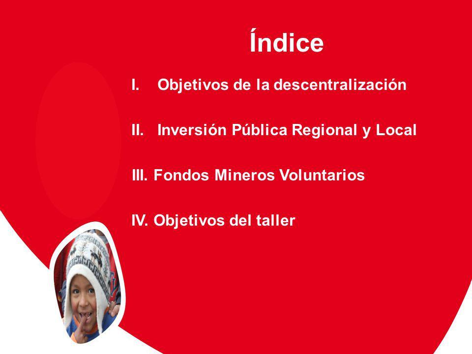 Índice I.Objetivos de la descentralización II.Inversión Pública Regional y Local III.