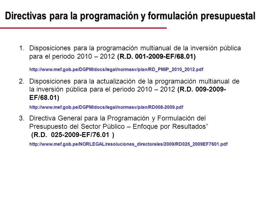 Directivas para la programación y formulación presupuestal R.D.
