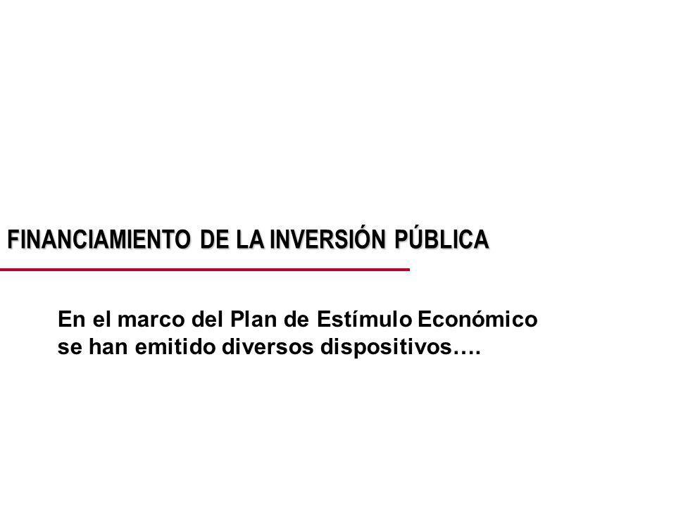 FINANCIAMIENTO DE LA INVERSIÓN PÚBLICA En el marco del Plan de Estímulo Económico se han emitido diversos dispositivos….