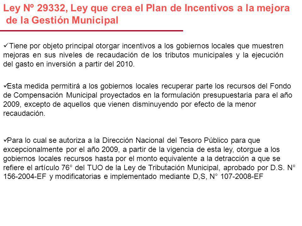 Ley Nº 29332, Ley que crea el Plan de Incentivos a la mejora de la Gestión Municipal Tiene por objeto principal otorgar incentivos a los gobiernos locales que muestren mejoras en sus niveles de recaudación de los tributos municipales y la ejecución del gasto en inversión a partir del 2010.