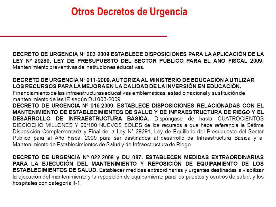 DECRETO DE URGENCIA Nº 003 2009 ESTABLECE DISPOSICIONES PARA LA APLICACIÓN DE LA LEY Nº 29289, LEY DE PRESUPUESTO DEL SECTOR PÚBLICO PARA EL AÑO FISCAL 2009.