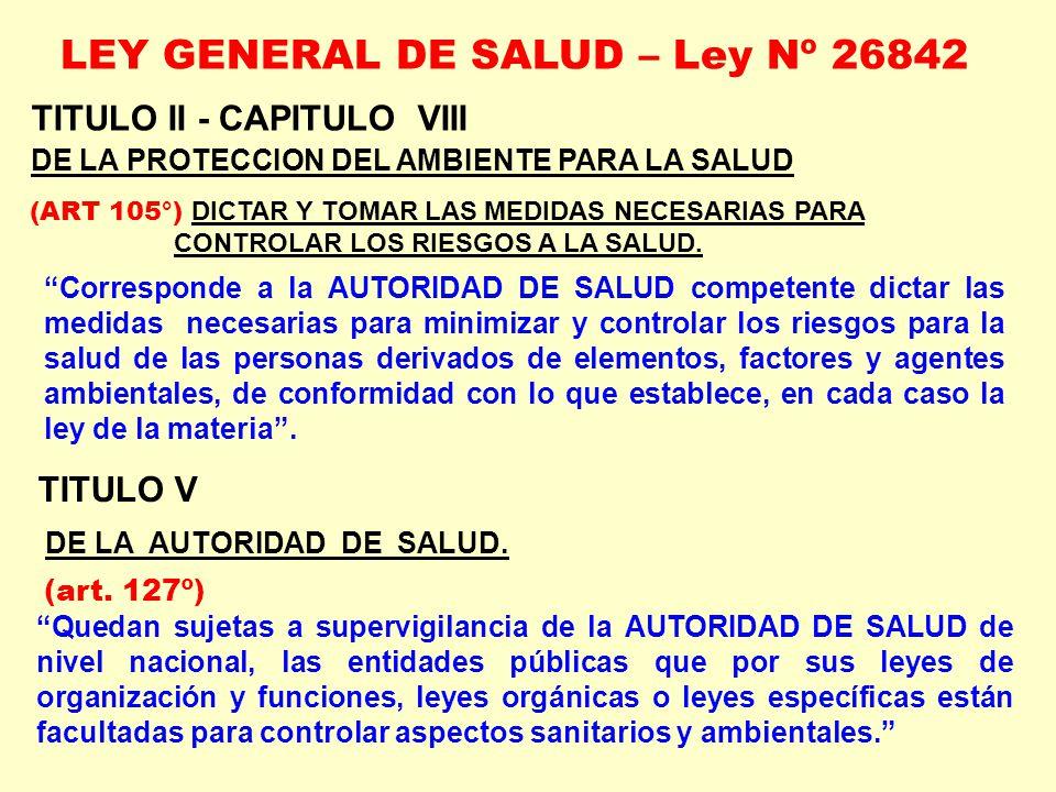 TITULO II - CAPITULO VIII DE LA PROTECCION DEL AMBIENTE PARA LA SALUD (ART 105°) DICTAR Y TOMAR LAS MEDIDAS NECESARIAS PARA CONTROLAR LOS RIESGOS A LA