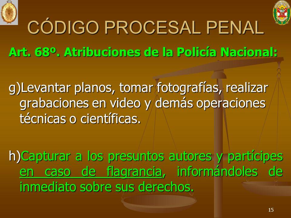 CÓDIGO PROCESAL PENAL Art. 68º. Atribuciones de la Policía Nacional: g)Levantar planos, tomar fotografías, realizar grabaciones en video y demás opera