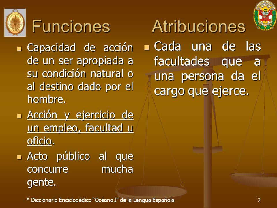Funciones Atribuciones Capacidad de acción de un ser apropiada a su condición natural o al destino dado por el hombre. Capacidad de acción de un ser a