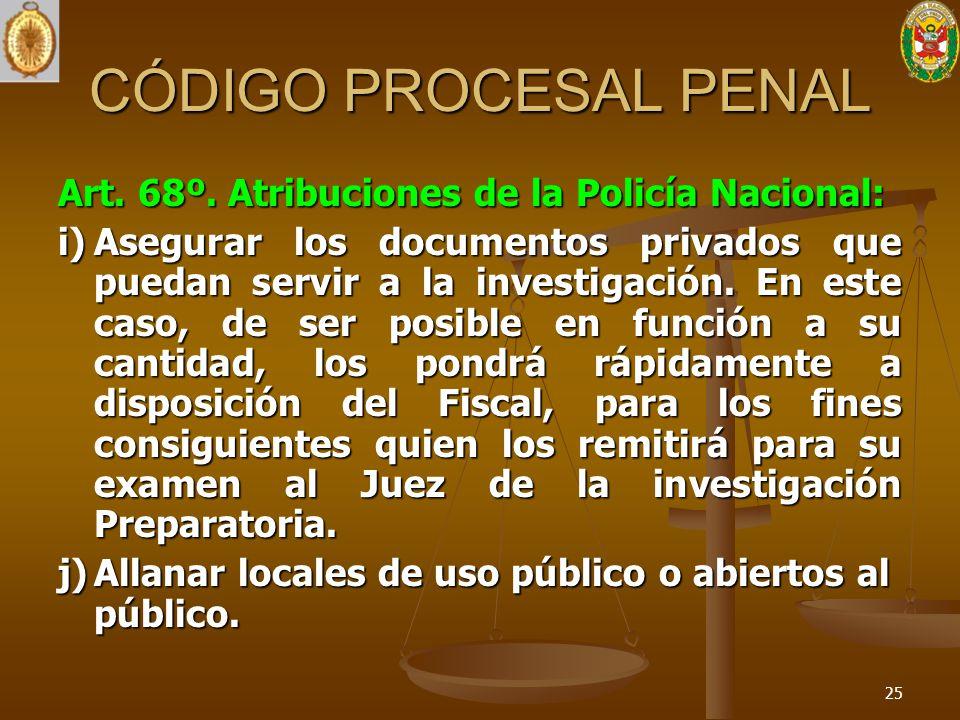 CÓDIGO PROCESAL PENAL Art. 68º. Atribuciones de la Policía Nacional: i)Asegurar los documentos privados que puedan servir a la investigación. En este