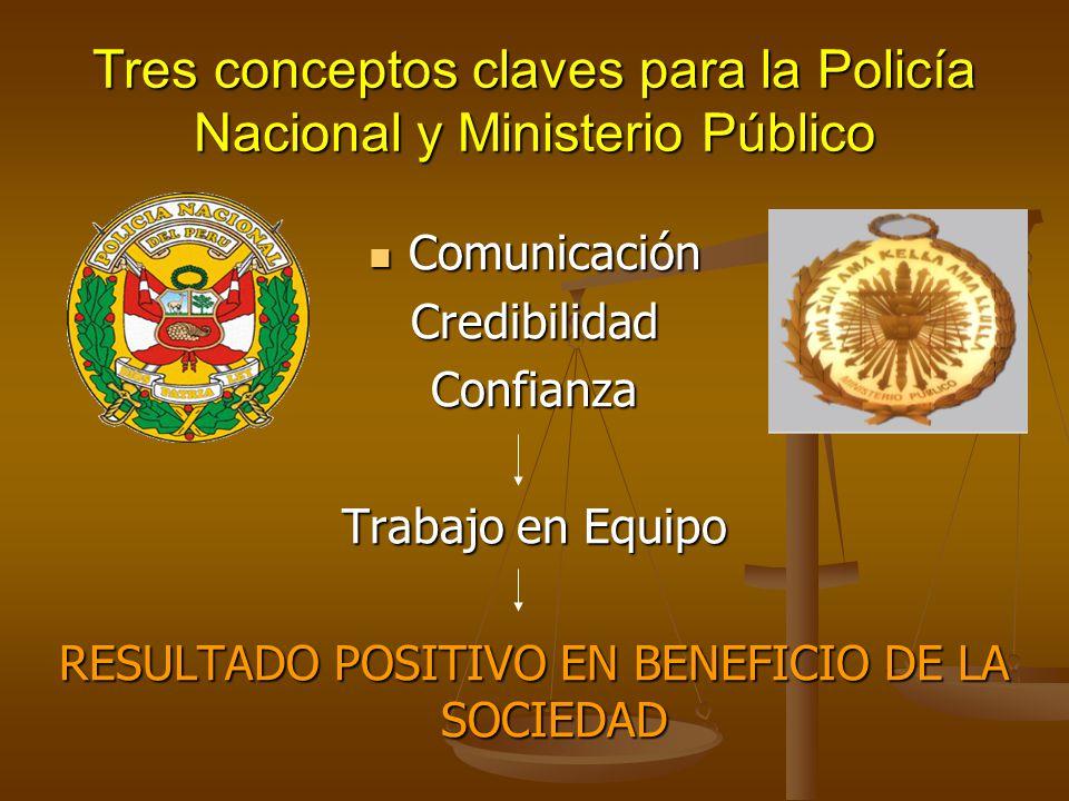 Tres conceptos claves para la Policía Nacional y Ministerio Público Comunicación ComunicaciónCredibilidadConfianza Trabajo en Equipo RESULTADO POSITIV