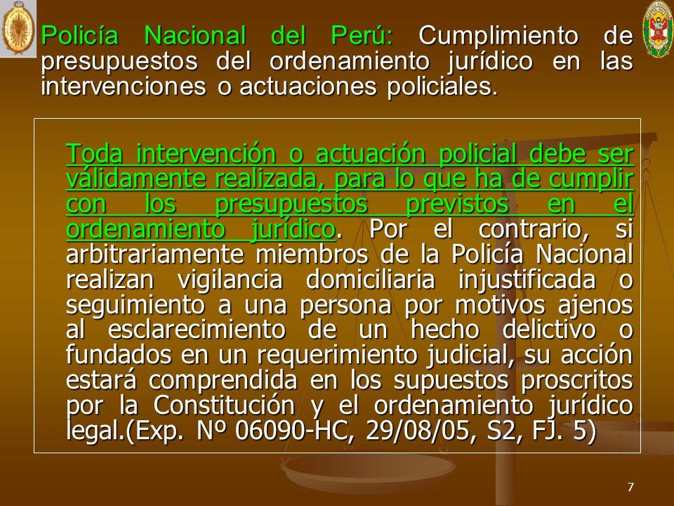 Policía Nacional del Perú: Cumplimiento de presupuestos del ordenamiento jurídico en las intervenciones o actuaciones policiales. Toda intervención o