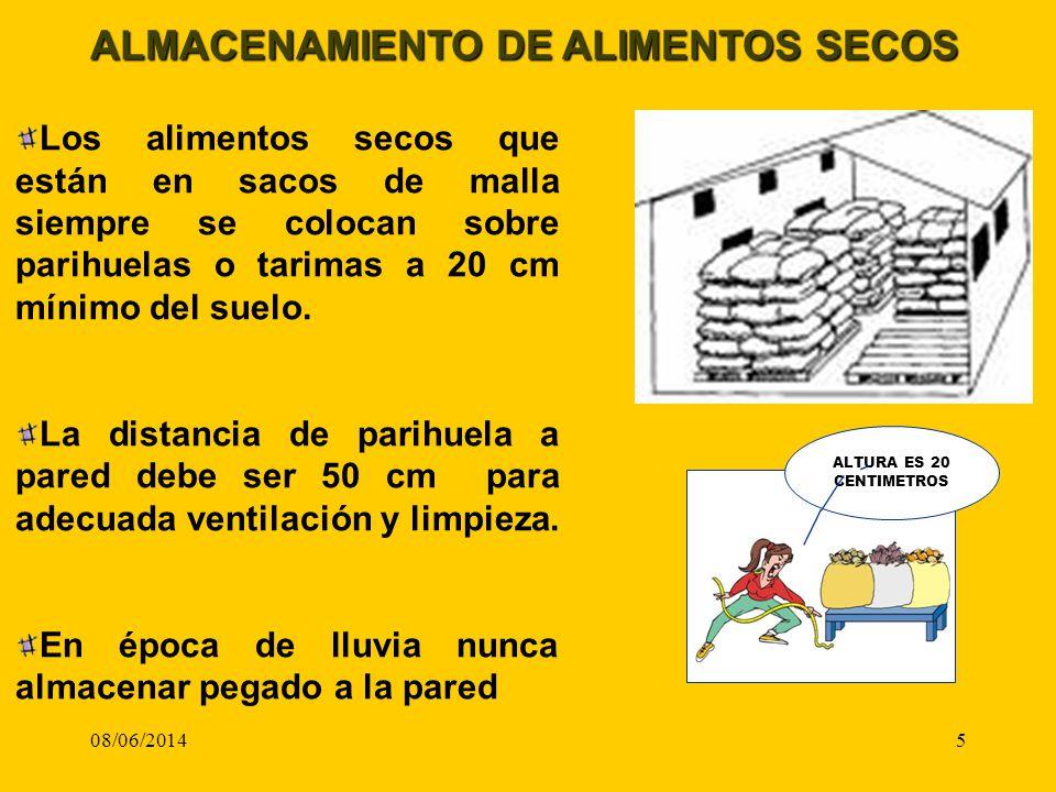 08/06/20145 ALMACENAMIENTO DE ALIMENTOS SECOS Los alimentos secos que están en sacos de malla siempre se colocan sobre parihuelas o tarimas a 20 cm mí