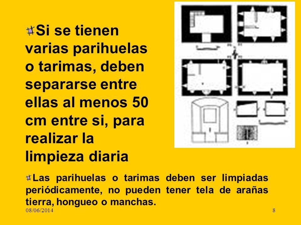 08/06/20148 Si se tienen varias parihuelas o tarimas, deben separarse entre ellas al menos 50 cm entre si, para realizar la limpieza diaria Las parihu