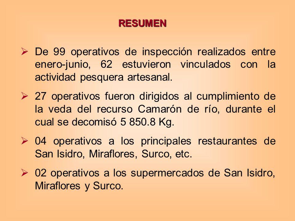 RESUMEN De 99 operativos de inspección realizados entre enero-junio, 62 estuvieron vinculados con la actividad pesquera artesanal.