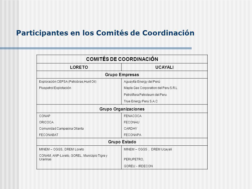 Participantes en los Comités de Coordinación COMIT É S DE COORDINACI Ó N LORETOUCAYALI Grupo Empresas Exploraci ó n CEPSA (Petrobras,Hunt Oil)Aguayt í a Energy del Per ú Pluspetrol Explotaci ó n Maple Gas Corporation del Peru S.R.L Petrol í fera Petroleum del Peru True Energy Peru S.A.C Grupo Organizaciones CONAPFENACOCA ORICOCAFECONAU Comunidad Campesina OllantaCARDHY FECONABATFECONAPA Grupo Estado MINEM – OGGS, DREM LoretoMINEM – OGGS, DREM Ucayali CONAM, ANP-Loreto, GOREL, Municipio Tigre y UrarinasPERUPETRO, GOREU - IRDECON