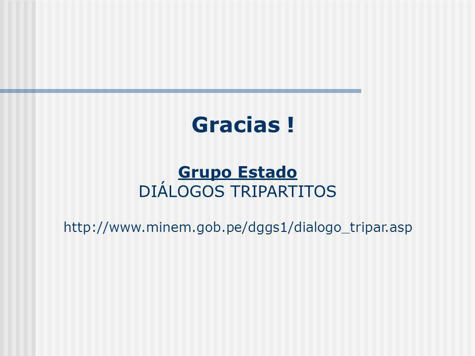 Gracias ! Grupo Estado DIÁLOGOS TRIPARTITOS http://www.minem.gob.pe/dggs1/dialogo_tripar.asp