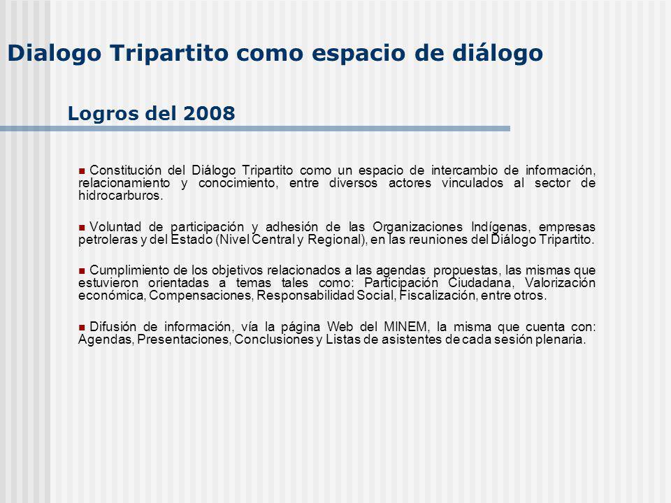 Dialogo Tripartito como espacio de diálogo Constitución del Diálogo Tripartito como un espacio de intercambio de información, relacionamiento y conocimiento, entre diversos actores vinculados al sector de hidrocarburos.