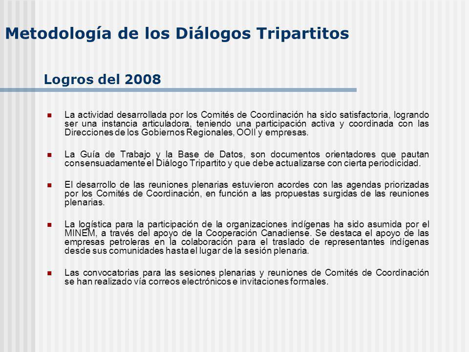 Metodología de los Diálogos Tripartitos La actividad desarrollada por los Comités de Coordinación ha sido satisfactoria, logrando ser una instancia articuladora, teniendo una participación activa y coordinada con las Direcciones de los Gobiernos Regionales, OOII y empresas.