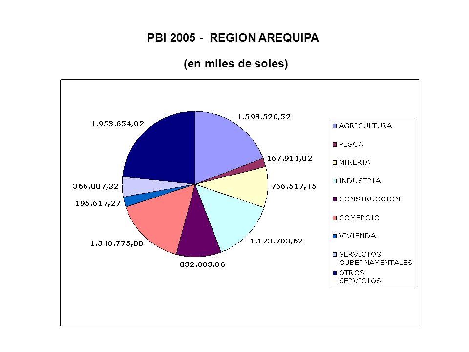 PBI 2005 - REGION AREQUIPA (en miles de soles)