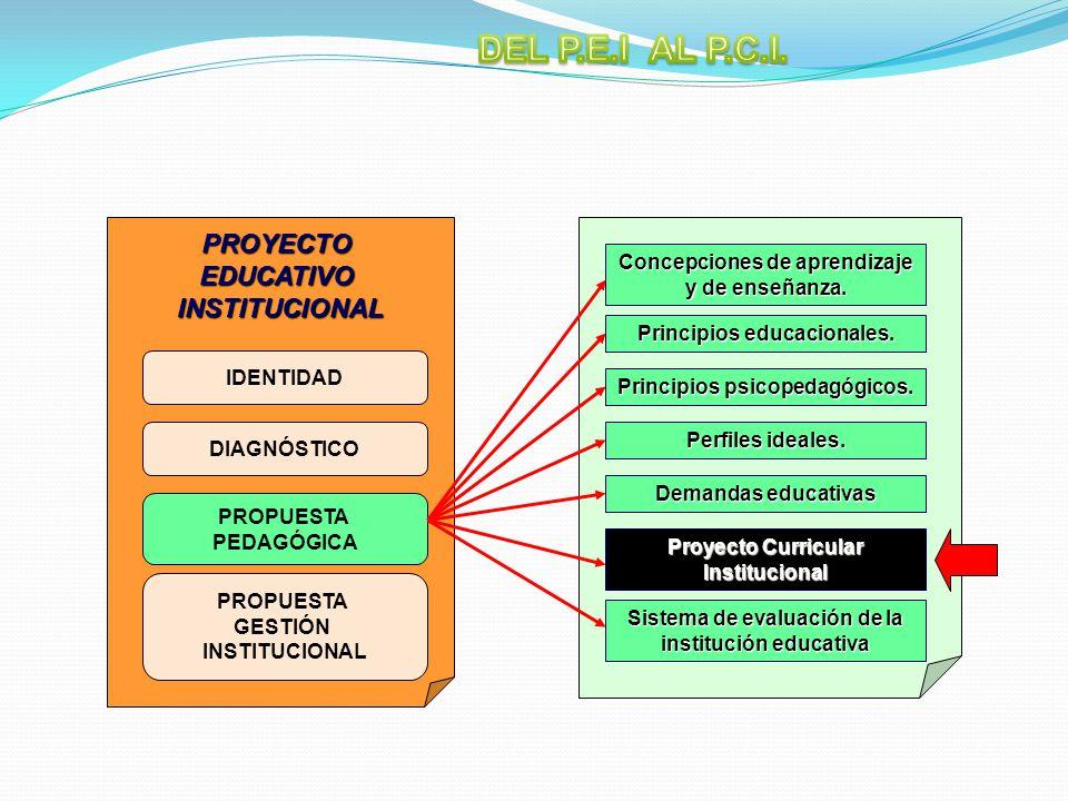 IDENTIDAD PROYECTOEDUCATIVOINSTITUCIONAL DIAGNÓSTICO PROPUESTA PEDAGÓGICA PROPUESTA GESTIÓN INSTITUCIONAL Concepciones de aprendizaje y de enseñanza.