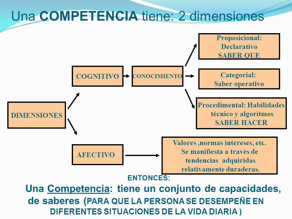 Una COMPETENCIA tiene: 2 dimensiones DIMENSIONES AFECTIVO COGNITIVO CONOCIMIENTO Valores,normas intereses, etc. Se manifiesta a través de tendencias a