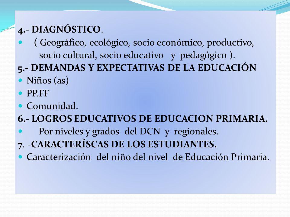 4.- DIAGNÓSTICO. ( Geográfico, ecológico, socio económico, productivo, socio cultural, socio educativo y pedagógico ). 5.- DEMANDAS Y EXPECTATIVAS DE
