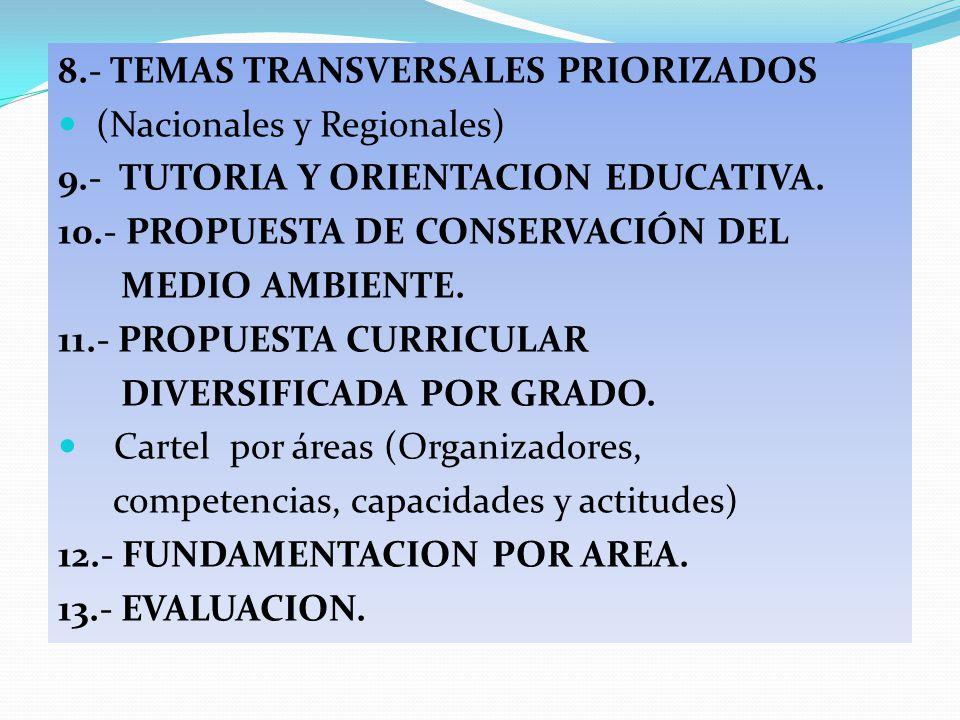 8.- TEMAS TRANSVERSALES PRIORIZADOS (Nacionales y Regionales) 9.- TUTORIA Y ORIENTACION EDUCATIVA. 10.- PROPUESTA DE CONSERVACIÓN DEL MEDIO AMBIENTE.