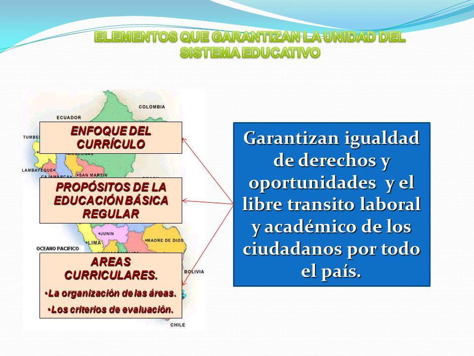 ENFOQUE DEL CURRÍCULO PROPÓSITOS DE LA EDUCACIÓN BÁSICA REGULAR AREAS CURRICULARES. La organización de las áreas.La organización de las áreas. Los cri