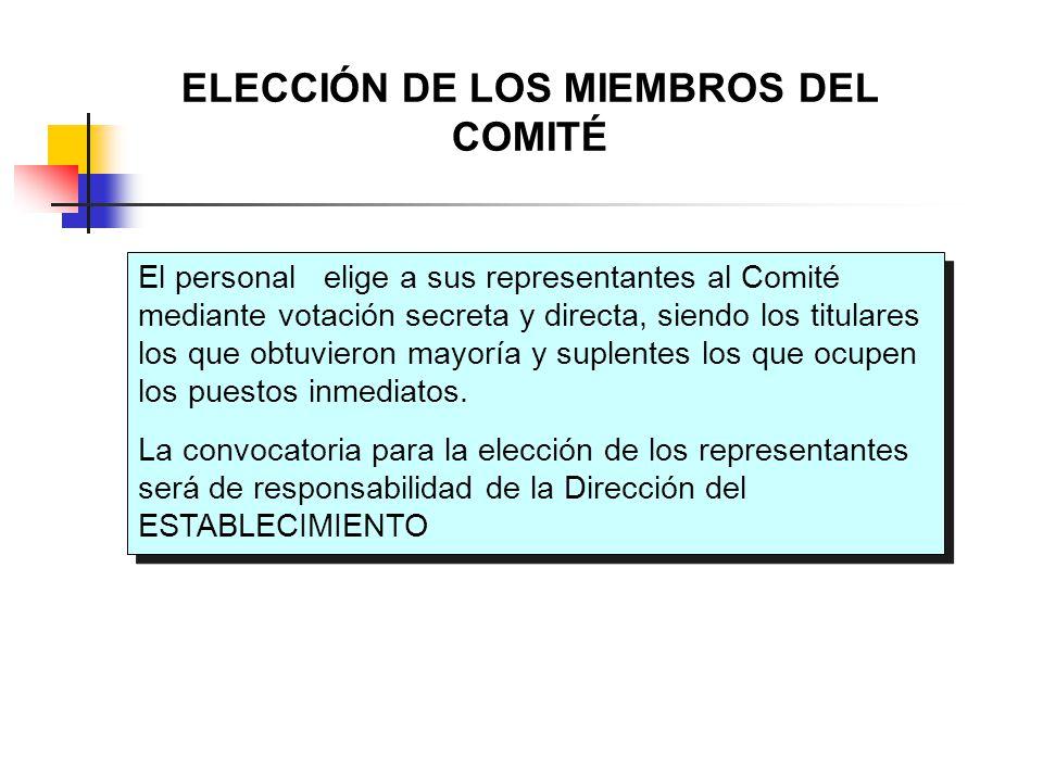 El personal elige a sus representantes al Comité mediante votación secreta y directa, siendo los titulares los que obtuvieron mayoría y suplentes los