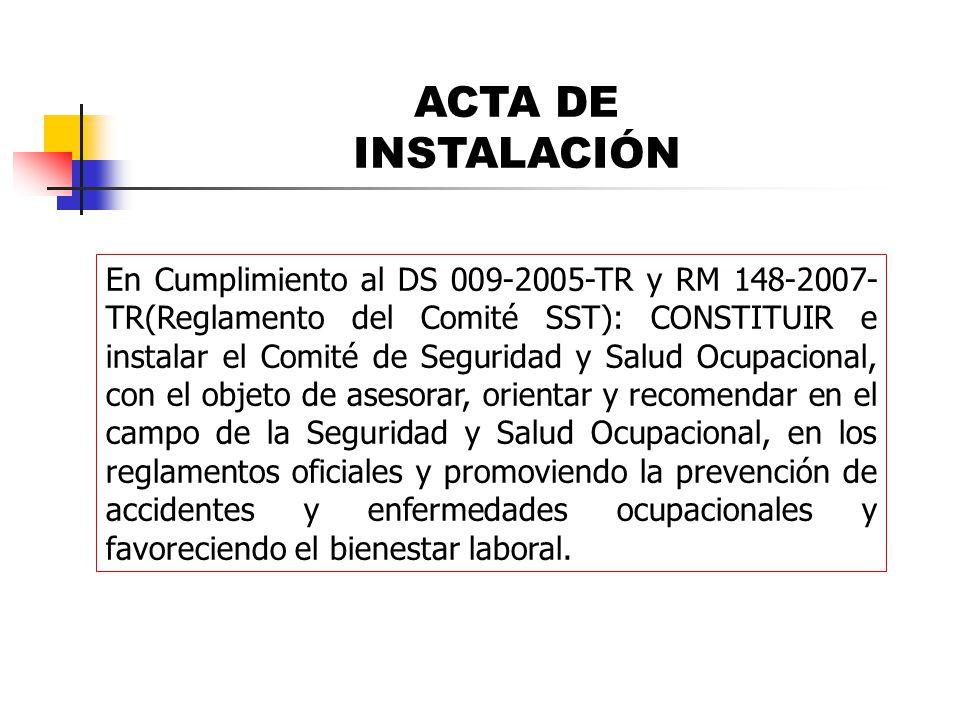 En Cumplimiento al DS 009-2005-TR y RM 148-2007- TR(Reglamento del Comité SST): CONSTITUIR e instalar el Comité de Seguridad y Salud Ocupacional, con