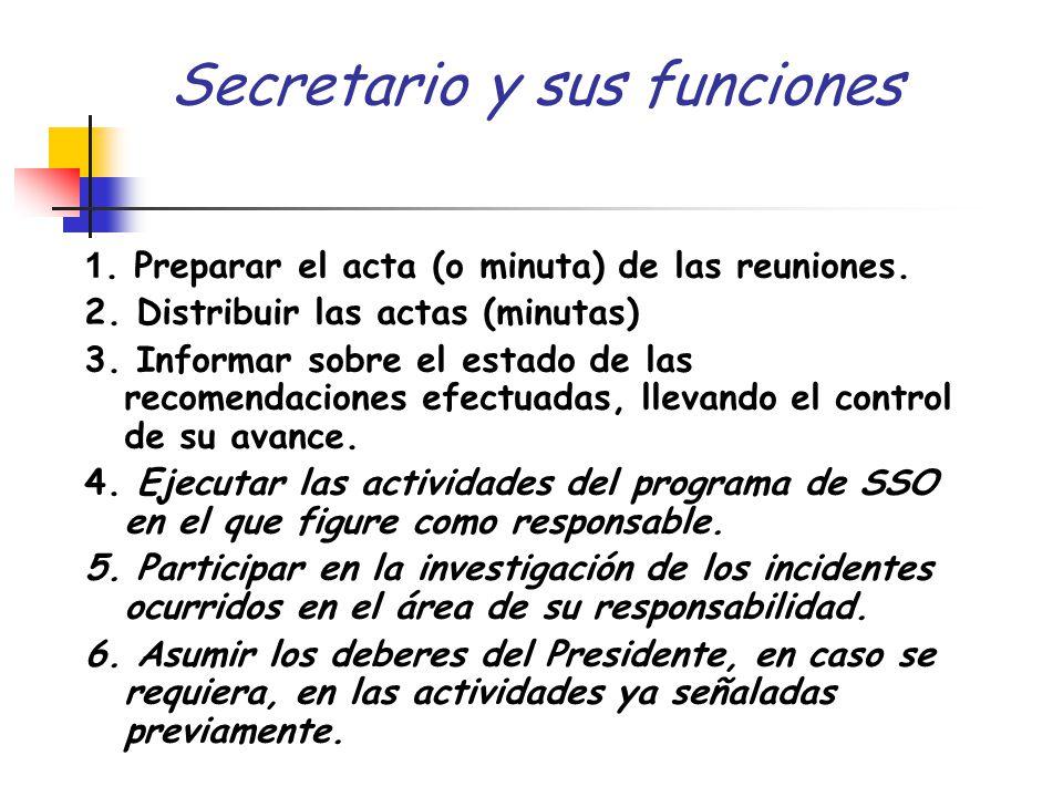 Secretario y sus funciones 1. Preparar el acta (o minuta) de las reuniones. 2. Distribuir las actas (minutas) 3. Informar sobre el estado de las recom