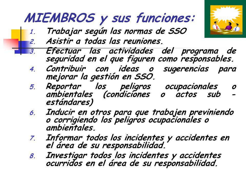 MIEMBROS y sus funciones: 1. Trabajar según las normas de SSO 2. Asistir a todas las reuniones. 3. Efectuar las actividades del programa de seguridad