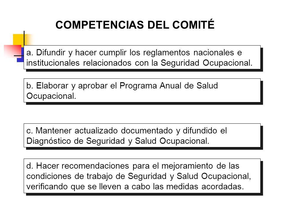 COMPETENCIAS DEL COMITÉ a. Difundir y hacer cumplir los reglamentos nacionales e institucionales relacionados con la Seguridad Ocupacional. b. Elabora