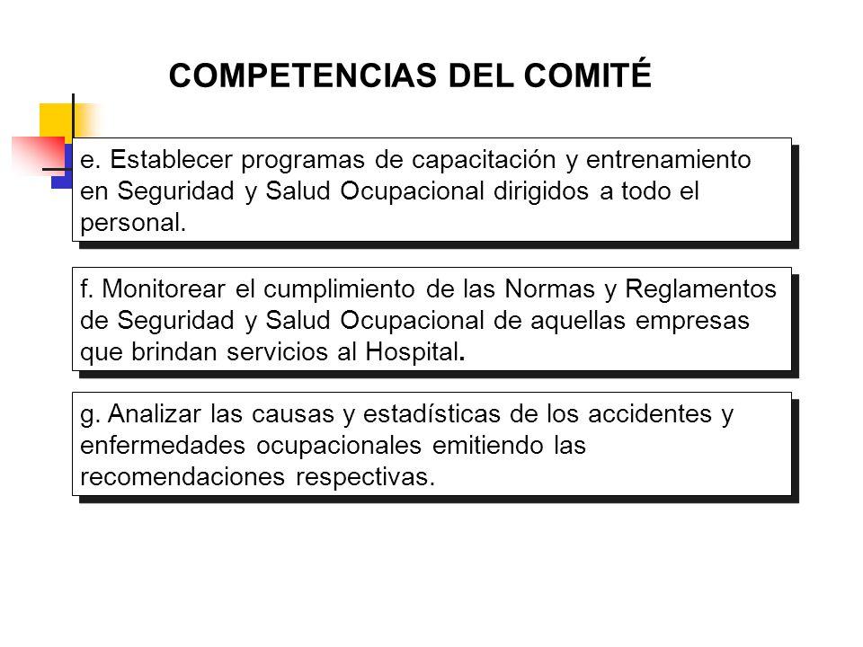 COMPETENCIAS DEL COMITÉ e. Establecer programas de capacitación y entrenamiento en Seguridad y Salud Ocupacional dirigidos a todo el personal. f. Moni