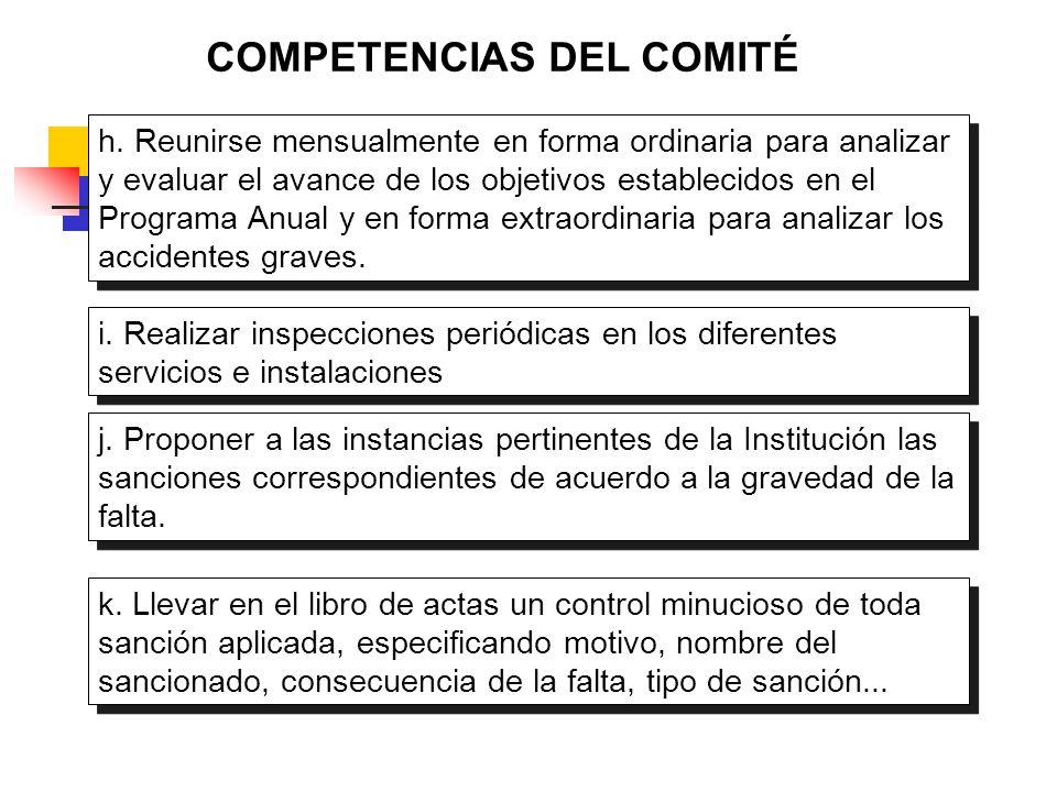 COMPETENCIAS DEL COMITÉ h. Reunirse mensualmente en forma ordinaria para analizar y evaluar el avance de los objetivos establecidos en el Programa Anu