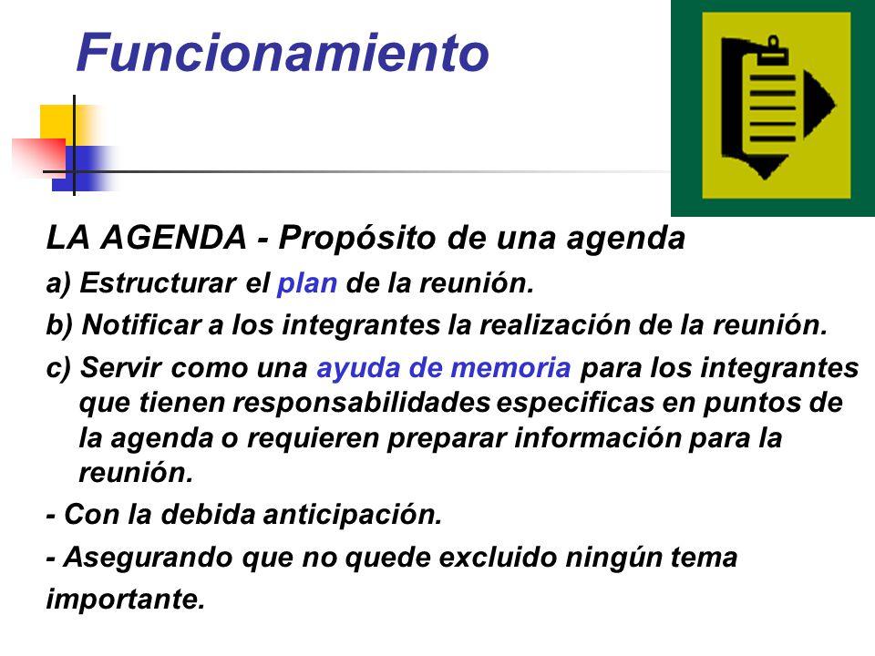 Funcionamiento LA AGENDA - Propósito de una agenda a) Estructurar el plan de la reunión. b) Notificar a los integrantes la realización de la reunión.