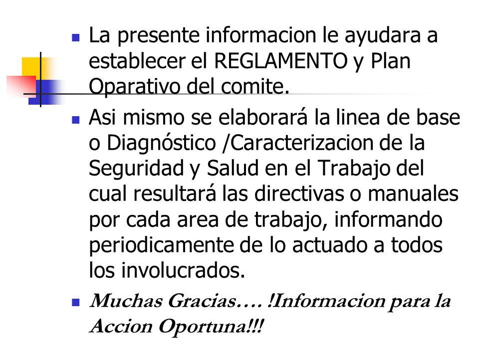 La presente informacion le ayudara a establecer el REGLAMENTO y Plan Oparativo del comite. Asi mismo se elaborará la linea de base o Diagnóstico /Cara